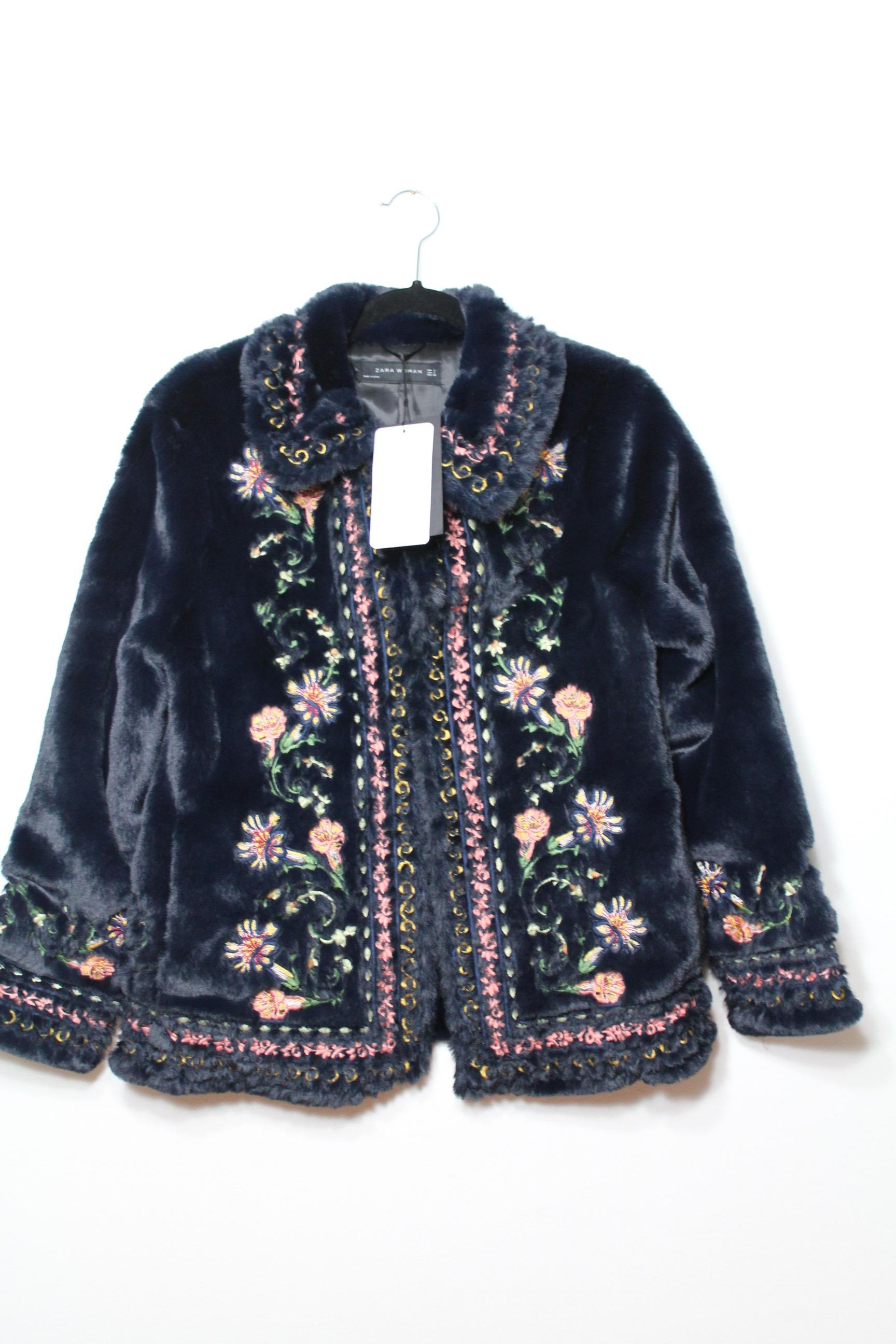 Zara Navy Blue New Tags Embroidered Floral Faux Jacket Coat Size 4 (S) - Tradesy