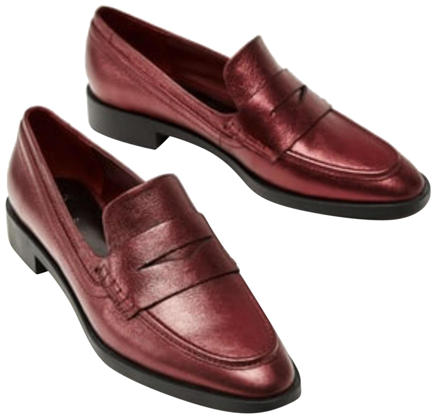 86bcabcd1ff Zara Red Metallic Leather Loafers Flats Size Size Size US 6 Regular ...