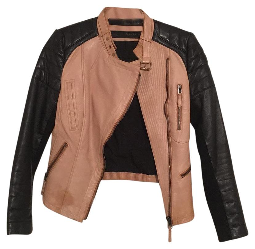 Zara Leather Biker Tan & Black Leather Jacket on Tradesy