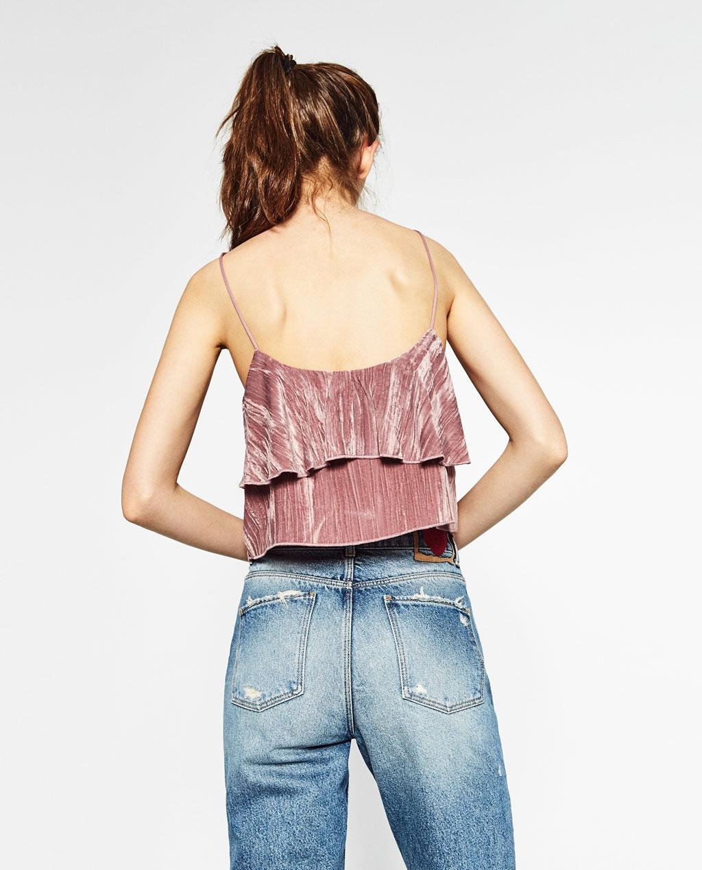 zara pink soft velvet strappy cropped style tank top  cami