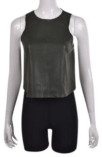 Zara Basic Womens Textured Faux Leather Party Shirt Top Green