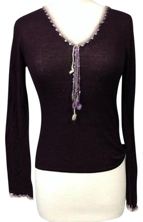 da37a954 durable service Zara Plum Cotton Blend Long Sleeve Sequin Embellished V  Neck Sweater 2678 A