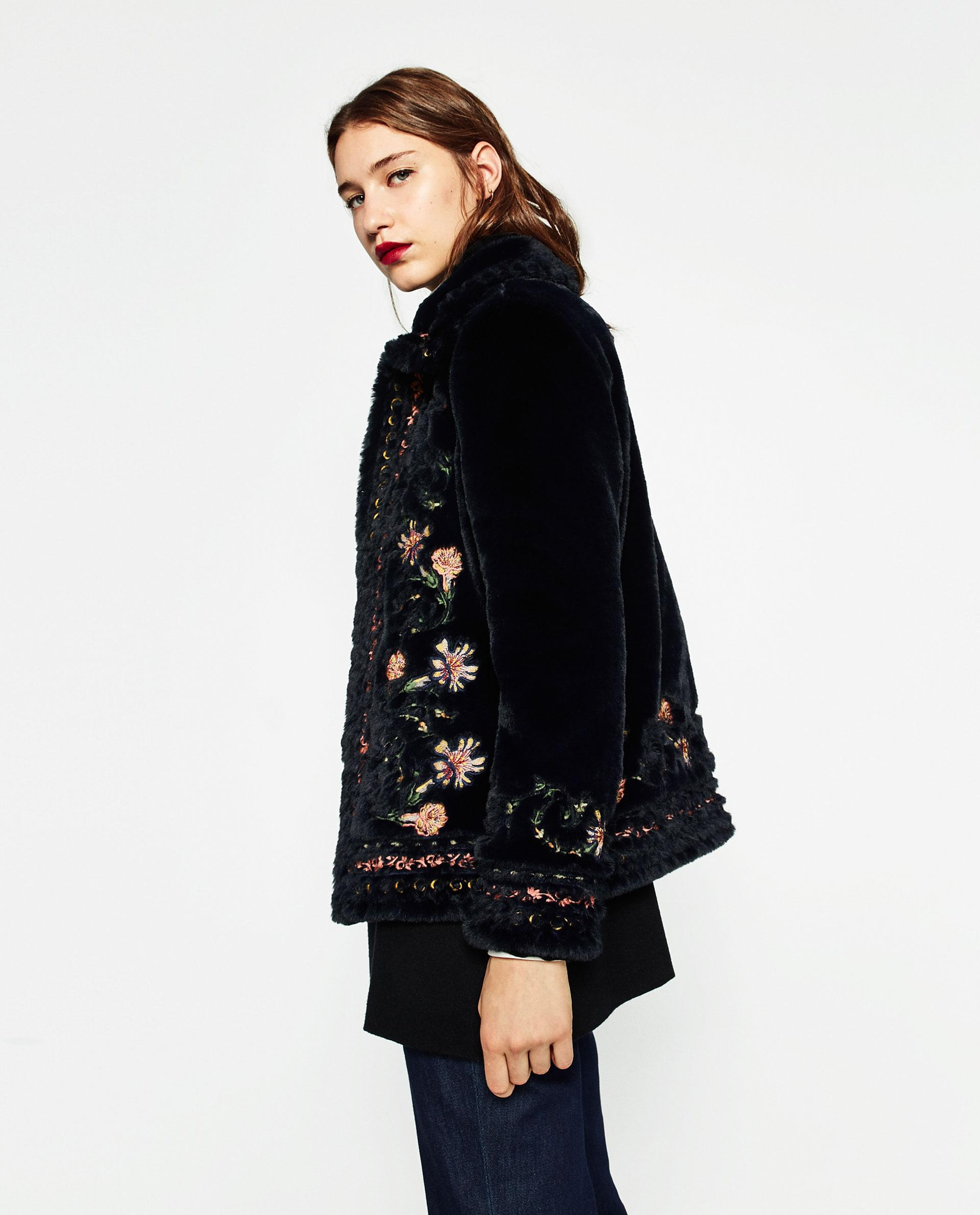Zara New!!! Tags Embroidered Floral Faux Fur Jacket Fur Coat