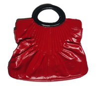 Zavier Leather Shoulder Tote in Red Black